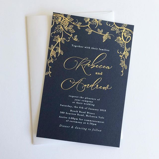 Bespoke invitations for a lovely couple who tied the knot last weekend 💍✌🏼 2018 is filling up fast 💕 . . #bluebellestudio #weddingseason #weddinginvitationsadelaide #weddingstationery #graphicdesigner #foilinvitations #goldfoil #navyinvitation #weddinginspo #adelaideweddings #weddingssa