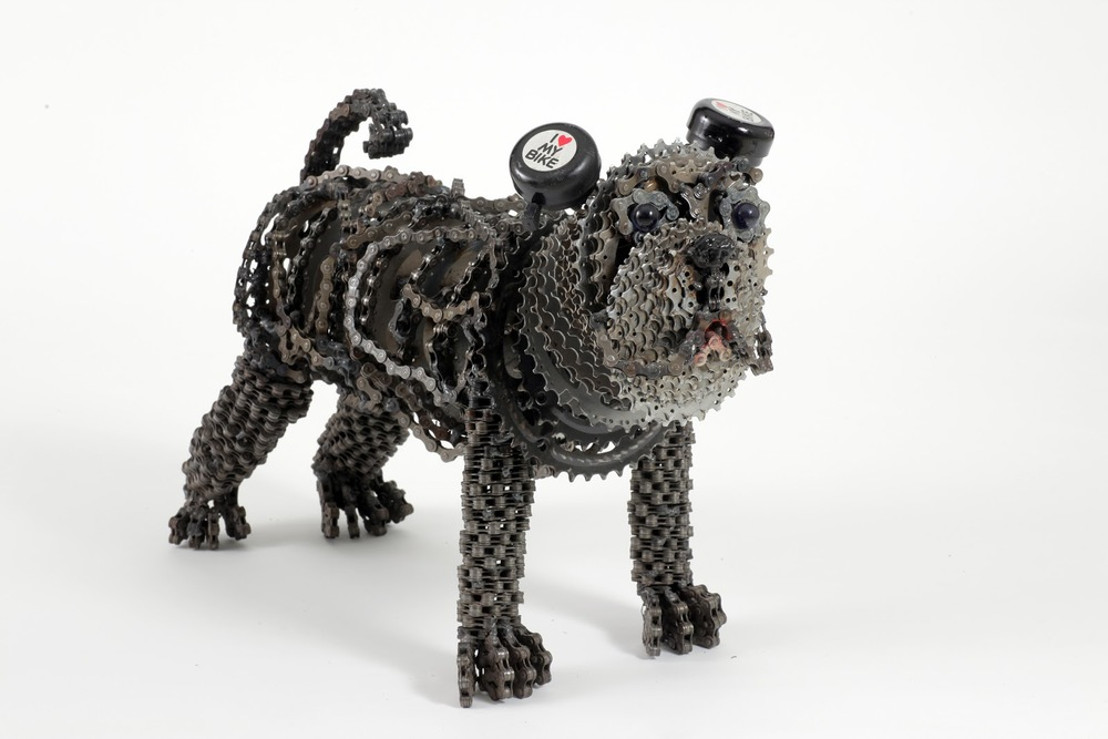 DOG ART FROM BICYCLE PARTS