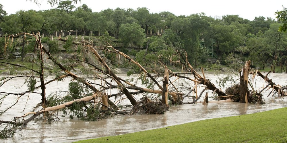 Heavy damage along the Blanco River.