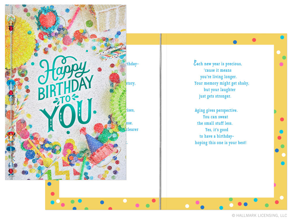 Good times 2018FOR HALLMARK CARDS, INC.  Art Direction —Angela GrondahlEditorial Direction —Cheryl GainesLettering and Design — Allie Smith