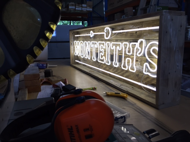 Monteith's neon in the workshop
