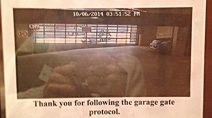 This is a video still-frame of my empty garage with a car pulling up to the gate.