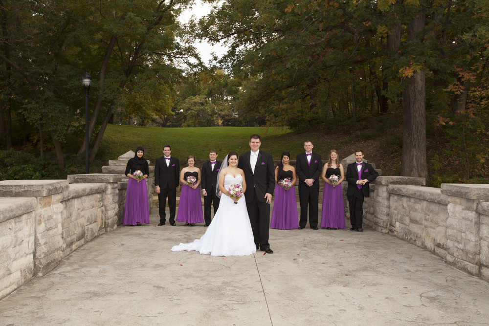 bridal party on lincoln bridge