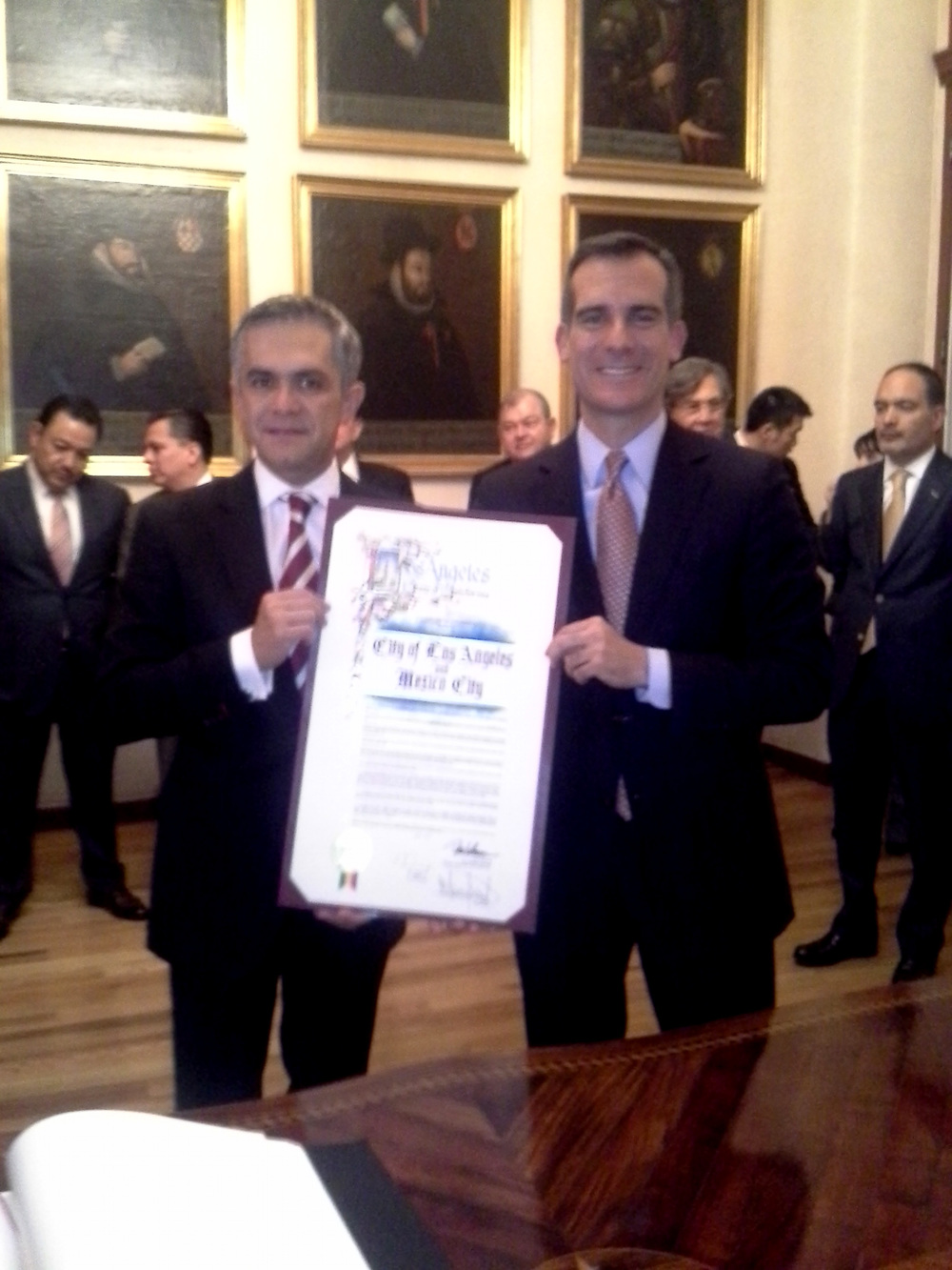 Mayor of Mexico City, Miguel Ángel Mancera and Mayor of Los Angeles, Eric Garcetti.