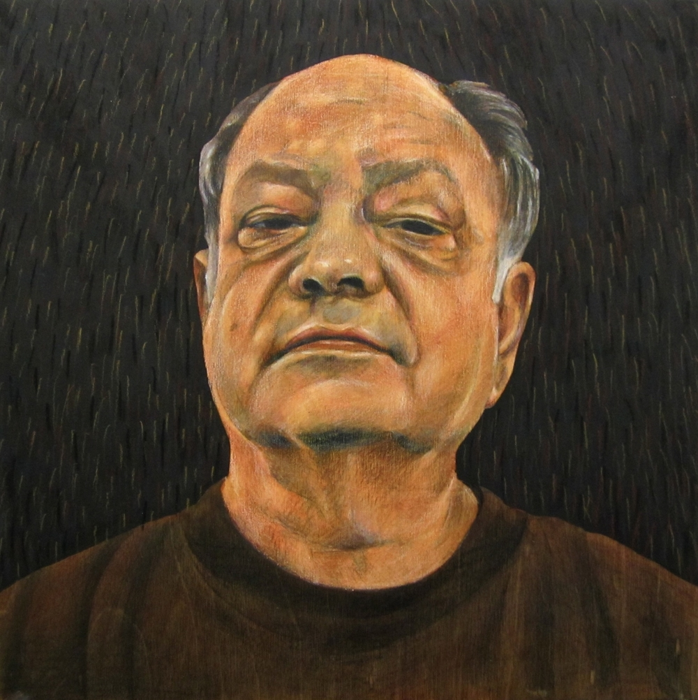 Carlos Donjuán, Portrait of Cheech, 2012. Mixed technique on wood.