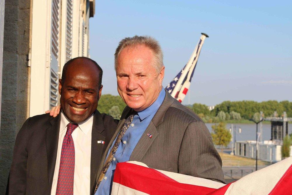 Pierre de Gaetan, Deputy Mayor for African Affairs, Bordeaux with Councilmember Tom LaBonge