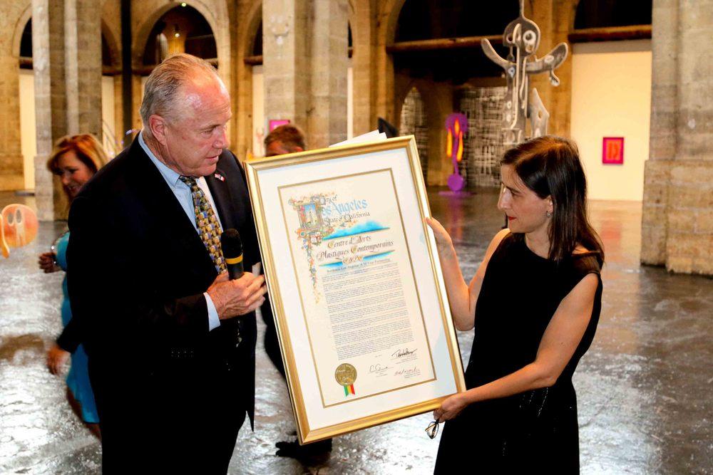 Councilmember Tom LaBonge andMaria Inés Rodriguez Fernandez, Director ofCAPC Musée d'Art Contemporain