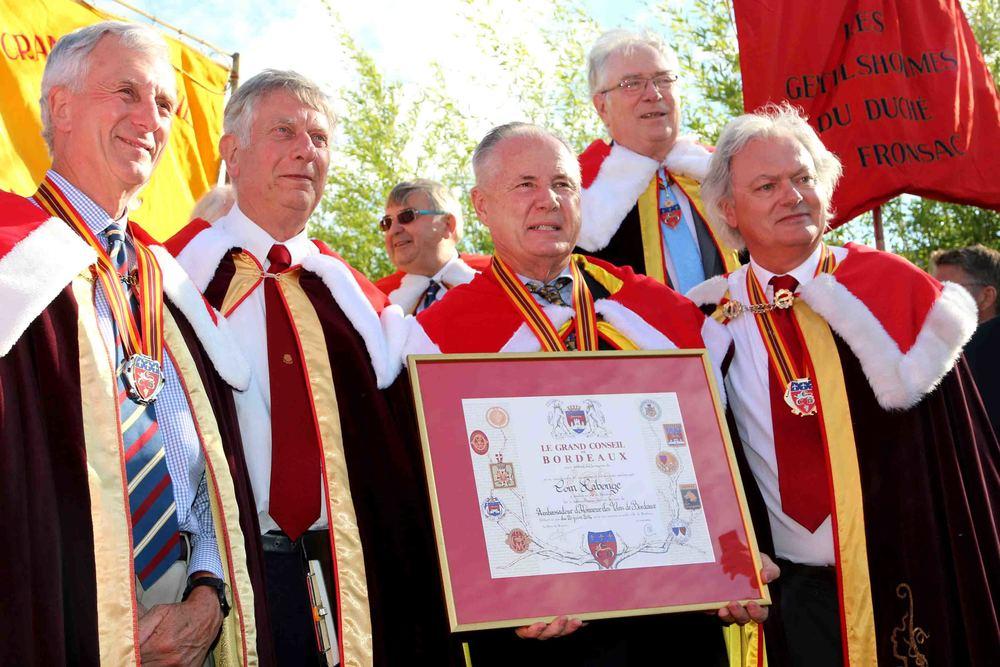 Councilmember Tom LaBonge with his  Ambassadeur d'Honneur des Vins de Bordeaux award with members of the Grand Conseil Du Vin De Bordeaux