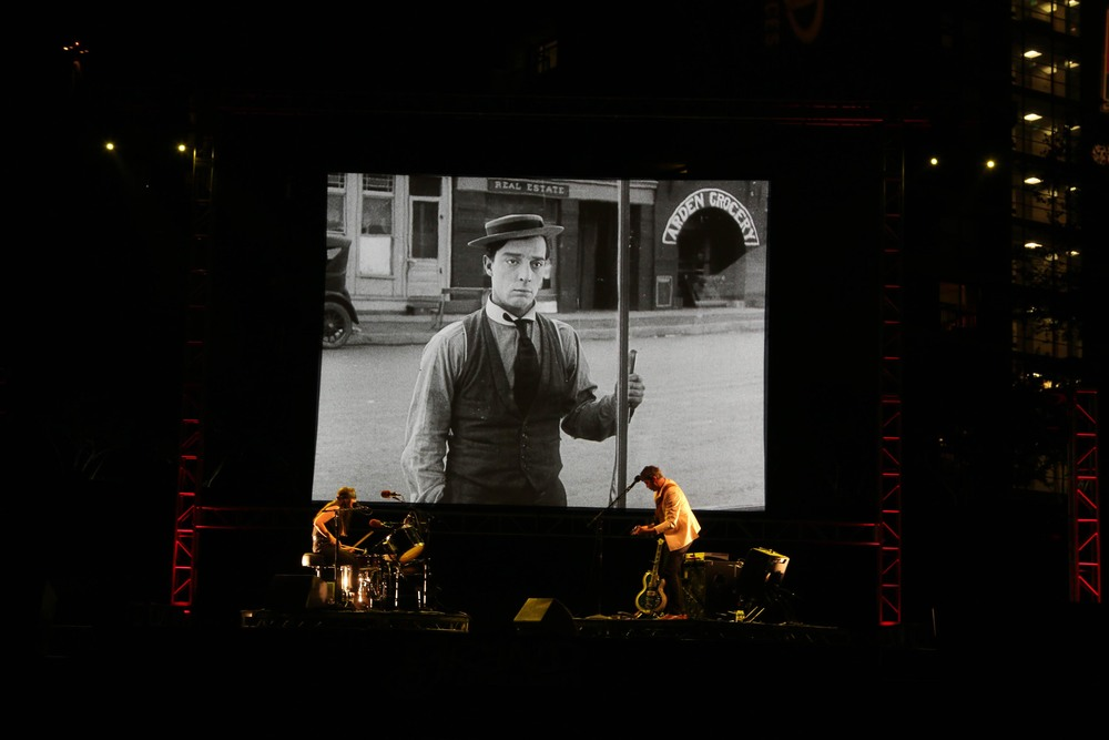 "Magnetix playing a live soundtrack to the Buster Keaton Silent film, ""Sherlock Jr."""