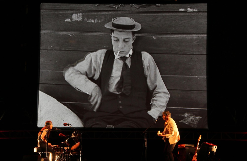 "Magnetix playing a live soundtrack to the Buster Keaton Silent film, ""Cops"""