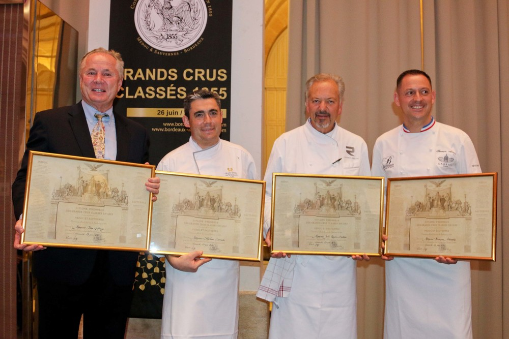 "Councilmember Tom LaBonge, Chef Stephane Carrade, Chef John Sedlar and Chef François Adamski with their Diplome d""Honneur des Grands Crus"