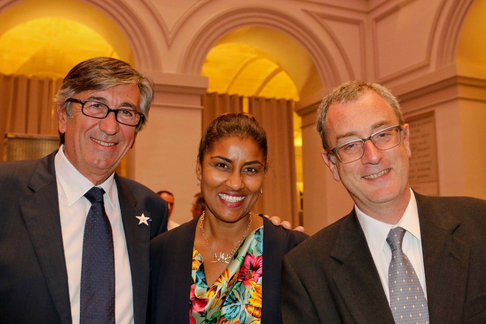 Deputy Mayor of Bordeaux, Stephan Delaux, Director of Sister Cities of Los Angeles, Kamilla Blanche and Louis de Corail, Executive Director of International Relations for Bordeaux