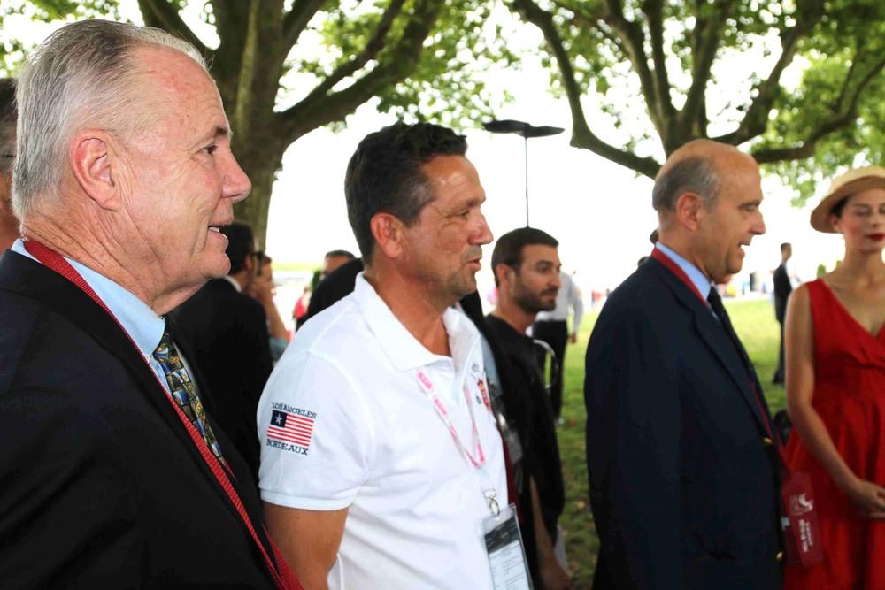 Councilmember Tom LaBonge, Laurent Maupile, Direc tor ofBordeaux Grands Evénements and Mayor Alain Jupp