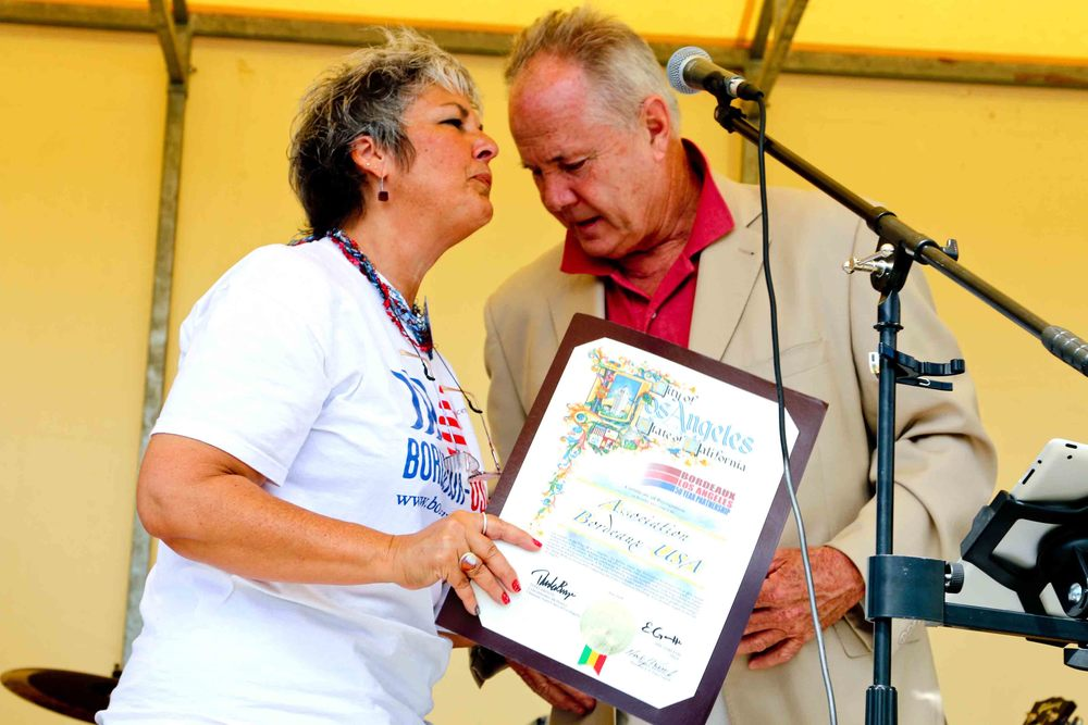 Concetta Antonelli-Lapeyre, President of the Bordeaux-USA Association and Councilmember Tom LaBonge