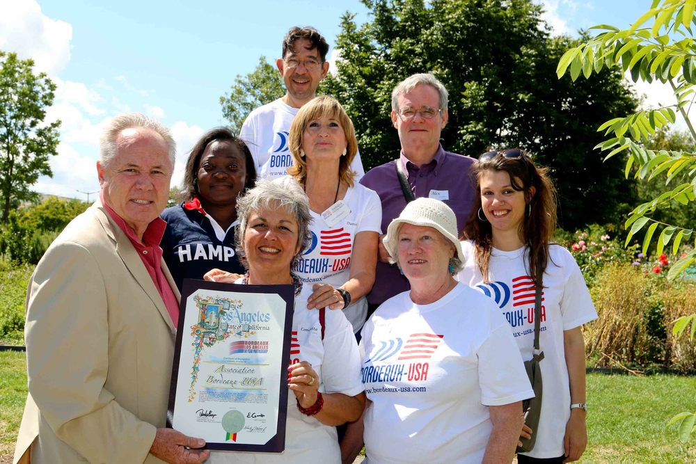 Councilmember Tom LaBonge with members of the Bordeaux-USA Association