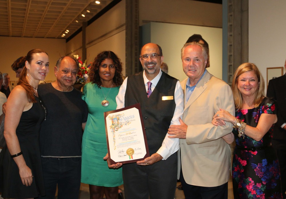 Natasha Marin, Cheech Marin, Kamilla Blanche, Scott Canty (Curator, Director of LAMAG) Councilmember Tom LaBonge and Olga Garay