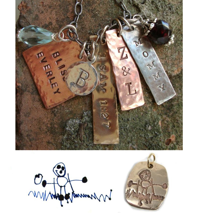 Top – personalized charms with text, names or monograms Bottom – turn your child's artwork into a charm!