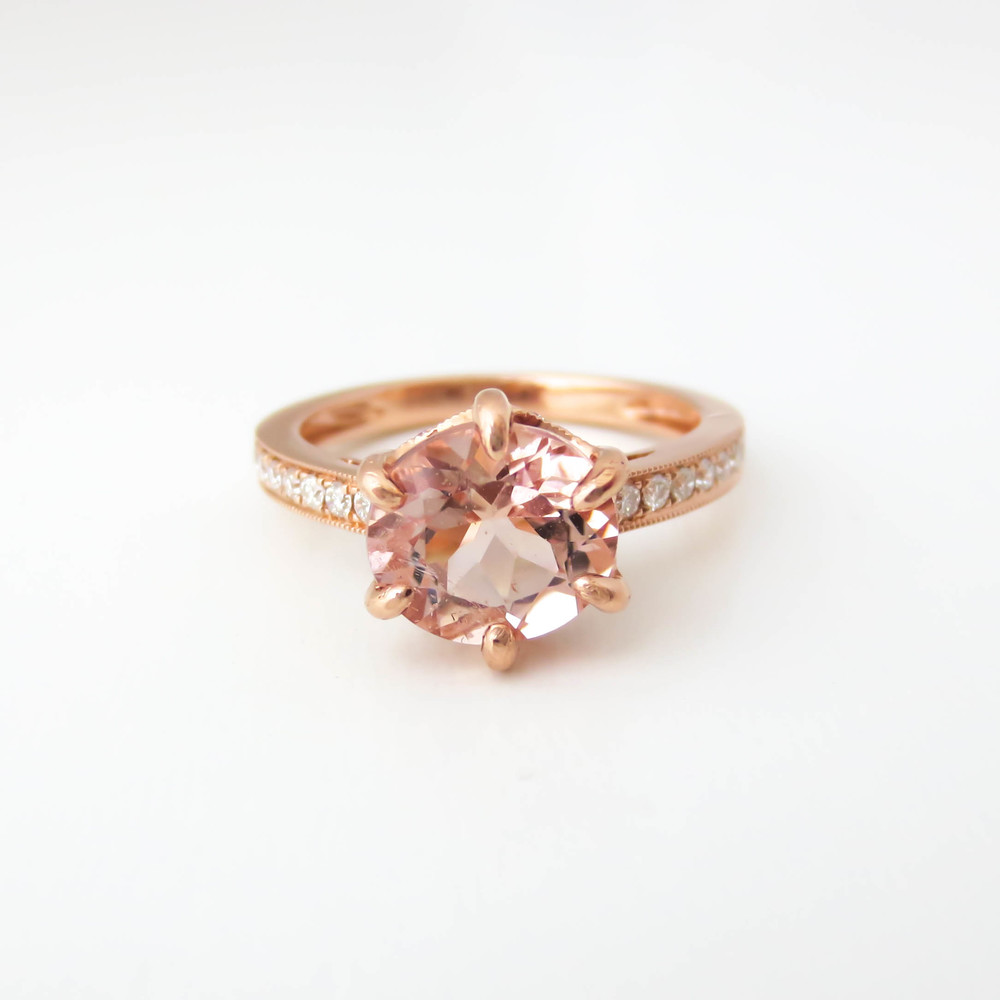 Elegant Channel Morganite Rose Gold Ring Nan Lee Jewelry