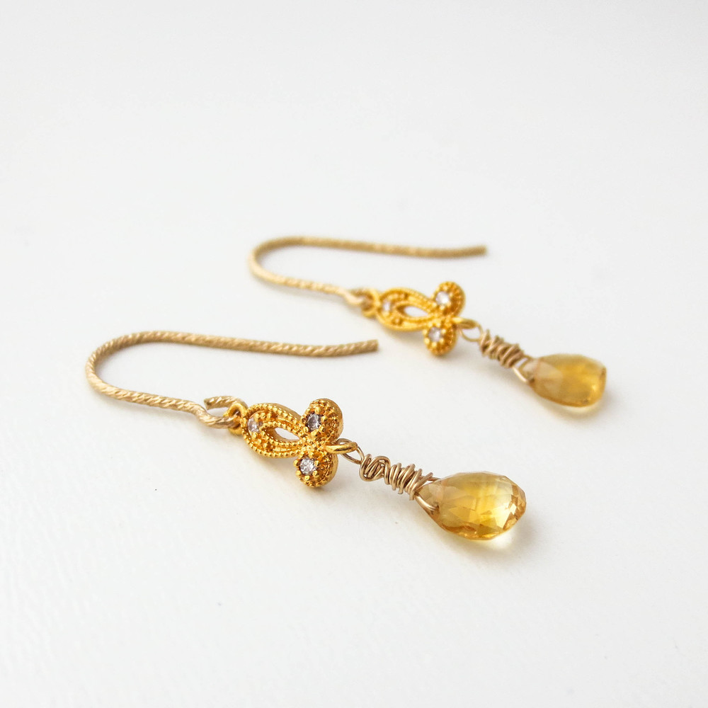 Fleur De Lis Citrine Briolette Earrings