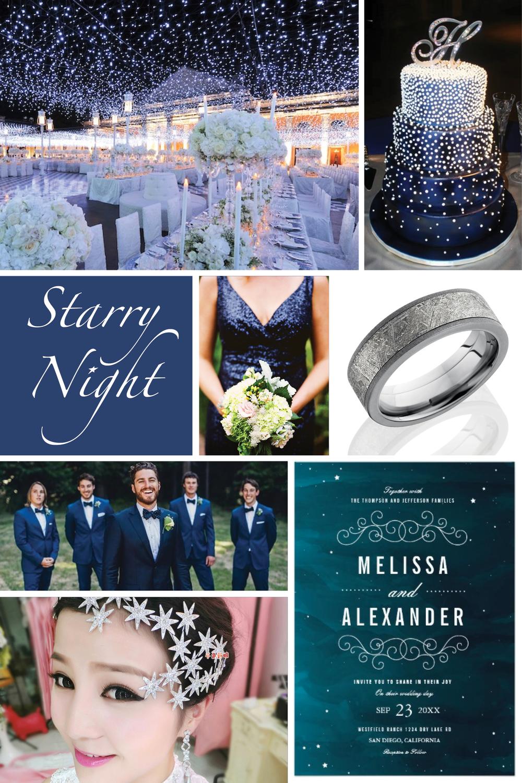 Image Links  Night Sky Reception Decor    Stunning Starry Wedding Cake     Navy Sequin Bridesmaid Dress    Meteorite Wedding Band    Night Blue  Tuxedos ... 01515b9b9