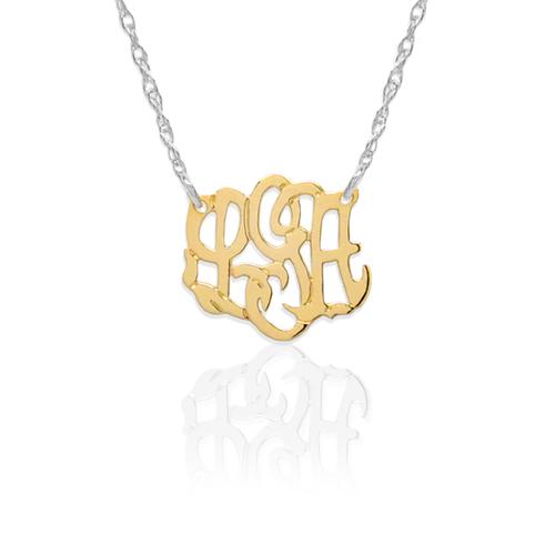 Mini 14k gold monogram necklace nan lee jewelry mini 14k gold monogram necklace aloadofball Image collections