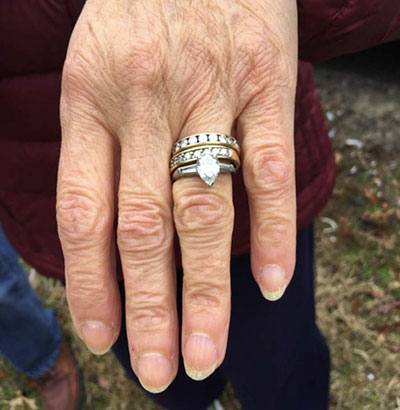 The lucky woman's rings, found along a highway with the help of MA State Troopers.