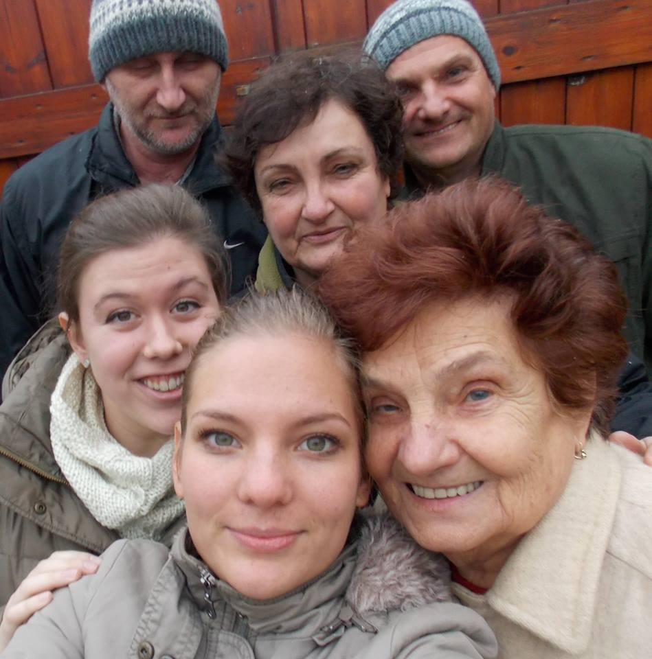 A photo of my Hungarian family and me after Sunday lunch.