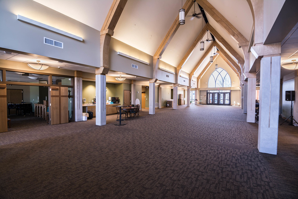 The narthex from canopy entrance. The chapel at left, sanctuary entrance at far right.