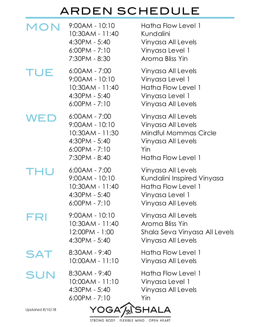 Arden Schedule: click to view and download