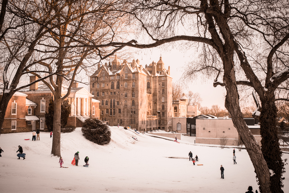 Mercer Museum in the snow, Doylestown, Pa.