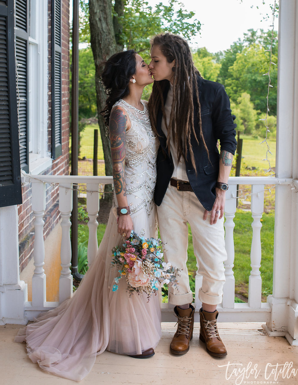 ceremony-pink-flower-silks-boots-wedding