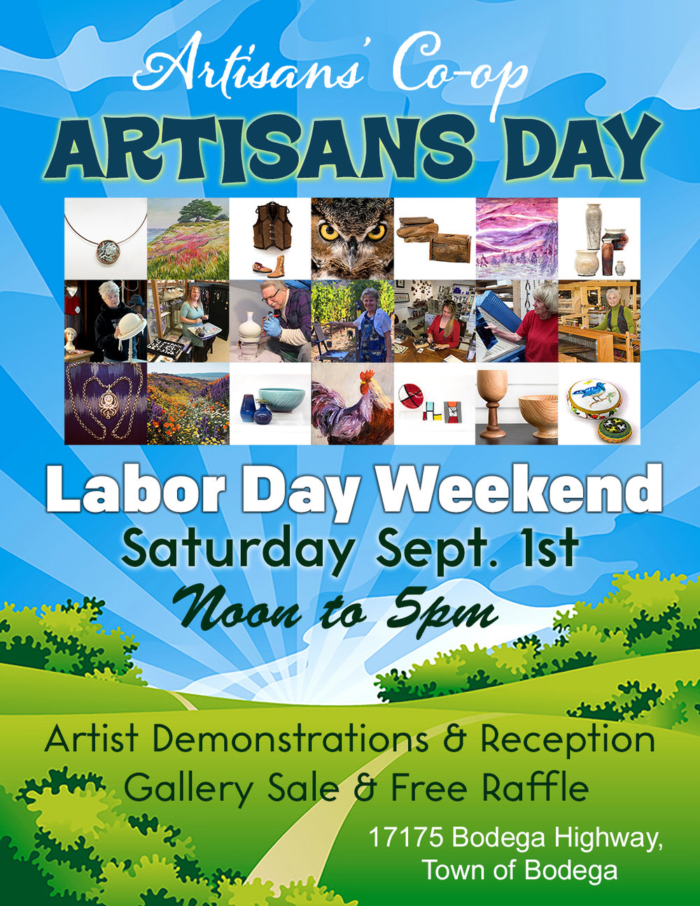 The Artisans' Co-op in Bodega celebrates the arts during their annual Artisans Day. There will be artist demonstrations, gallery wide sale, free raffle and a Meet the Artists Reception.