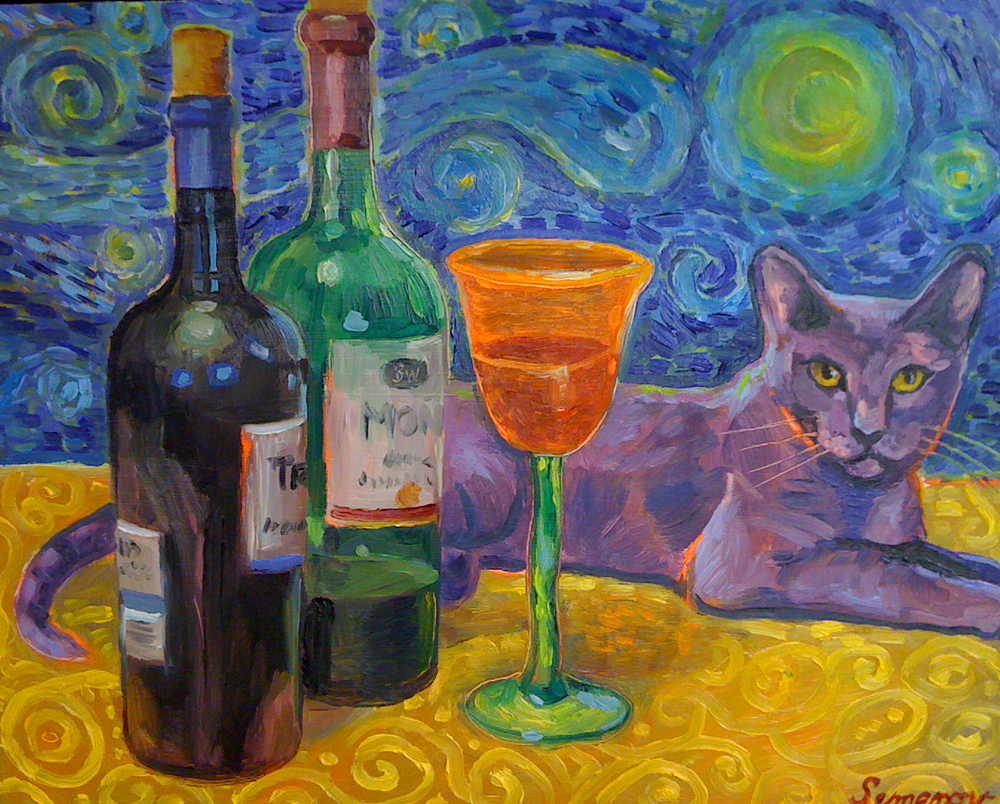Purple Cat on a Starry Night