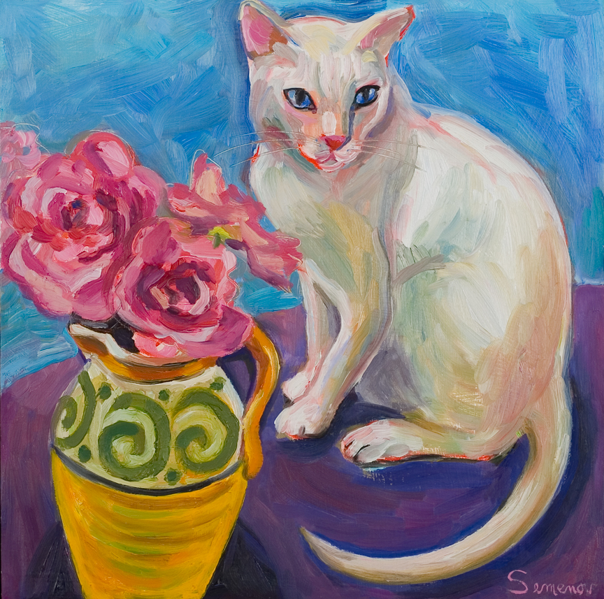 White Cat with Roses
