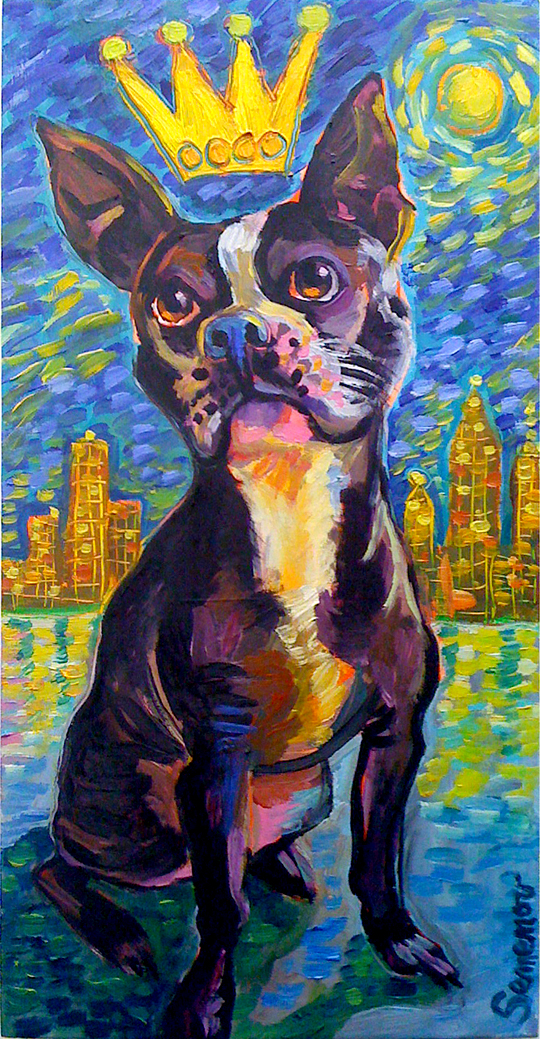 Boston Terrier in the City Lights