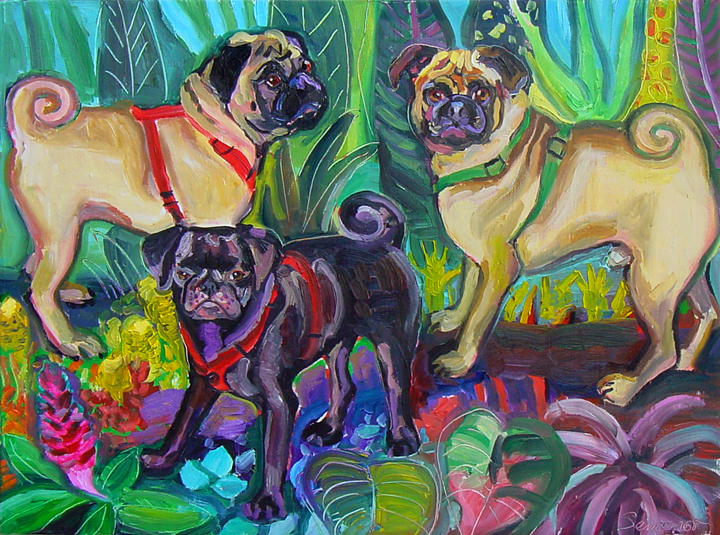 Three Pugs in the Jungle