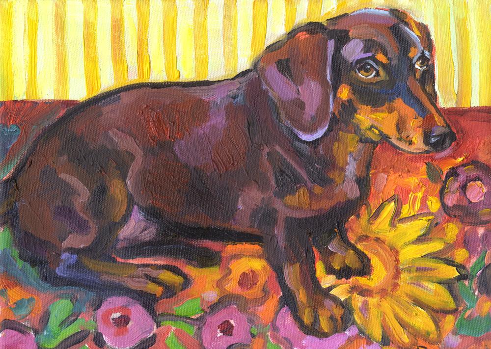 Dashchund on a Flower Rug