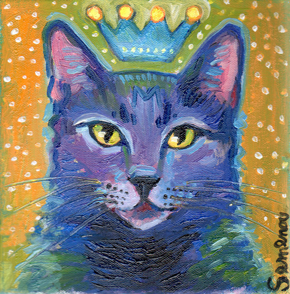 Purple Cat with a Crown
