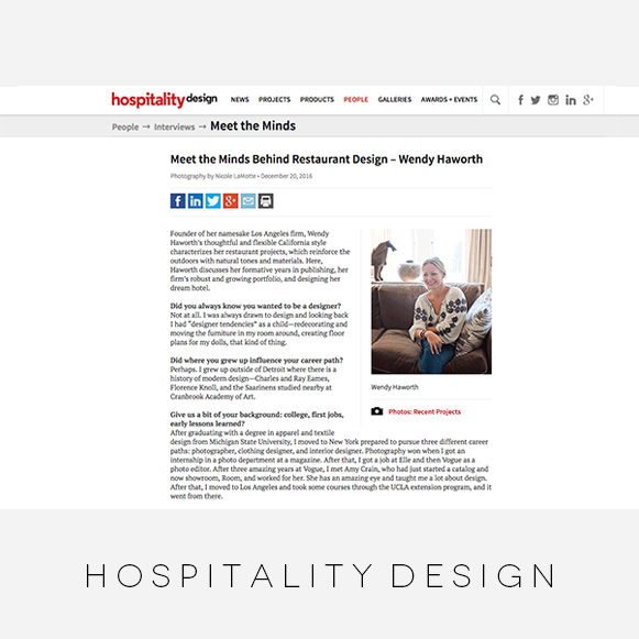 Wendy Haworth Design - Hospitality Design - Restaurant Designers Feature