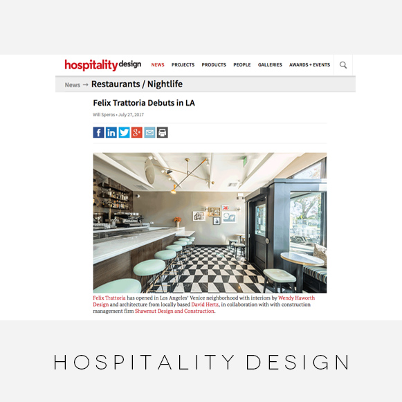 Wendy Haworth Design / Hospitality Design / Felix Trattoria