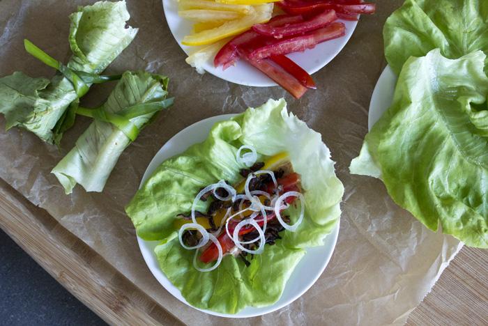 "blt lettuce wraps // shiitake ""bacon"", lettuce, tomato & a chip..."