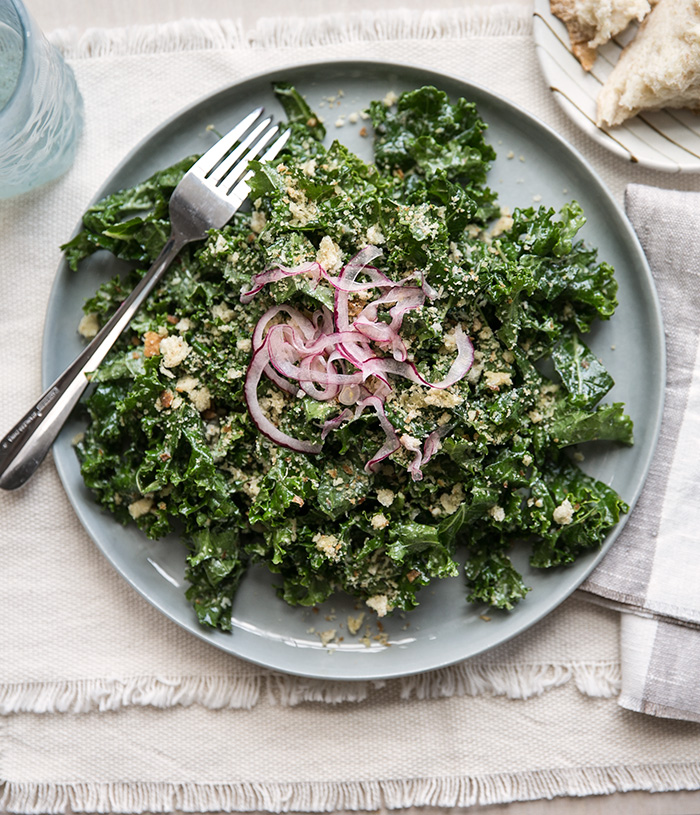 kale caesar salad with pickled onions + homemade breadcrumbs // a ...