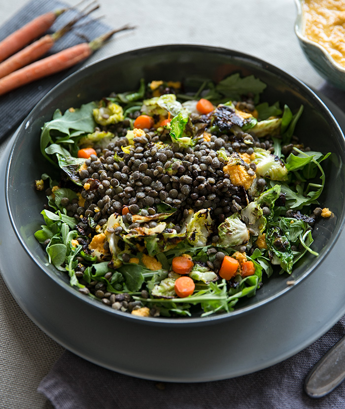Beluga Lentils With Crispy Brussel Leaves Carrots Fennel With A Ginger Dressing Whats Cooking Good Looking