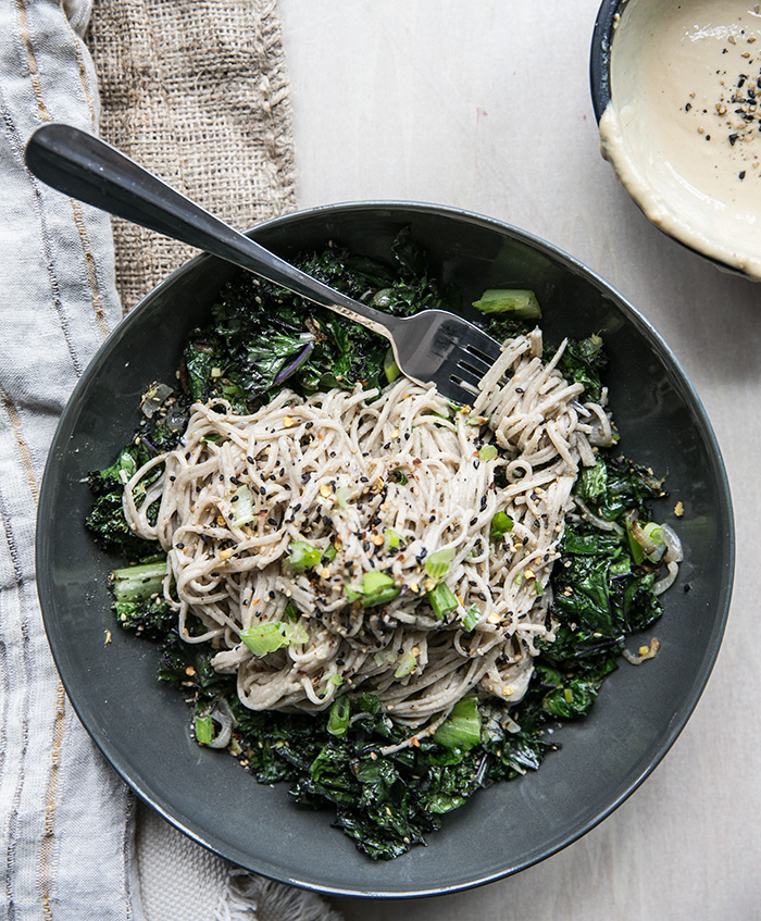 soba noodles + ginger tahini with crispy kale, shallots + romaine ...