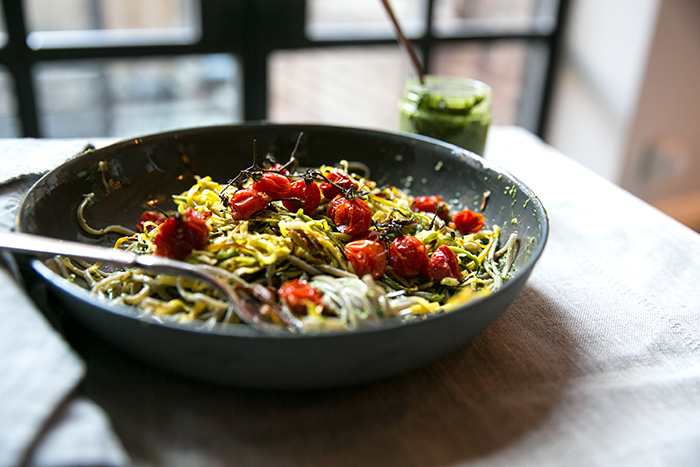Soba Noodles With Swiss Chard-Miso Pesto Recipe — Dishmaps