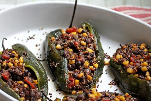 roasted poblanos stuffed with a black bean & black quinoa ...