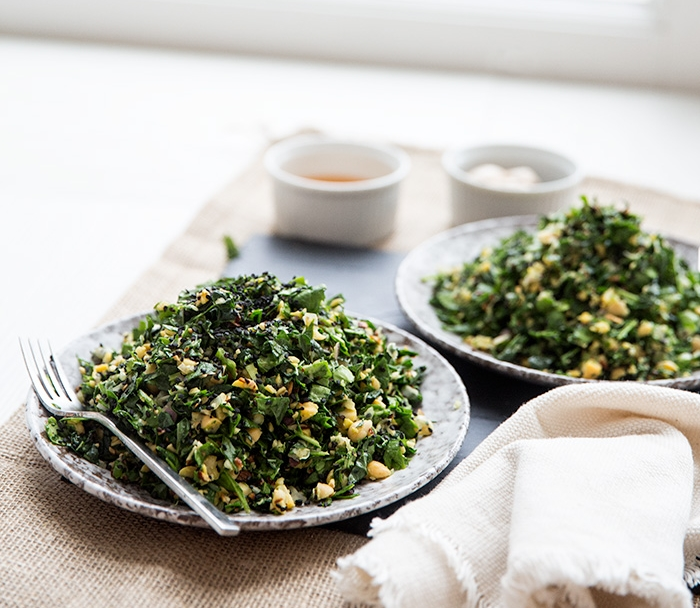 CHOPPED KALE SALAD + HONEY GINGER DRESSING