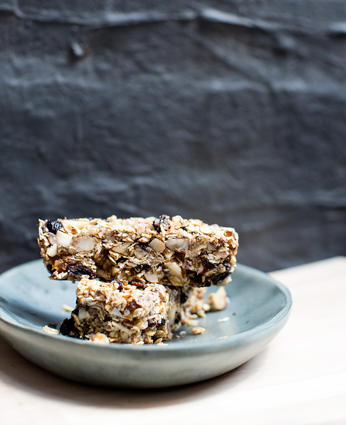 no-bake granola bars with cherries, brazil nuts + coconut | what's cooking good looking