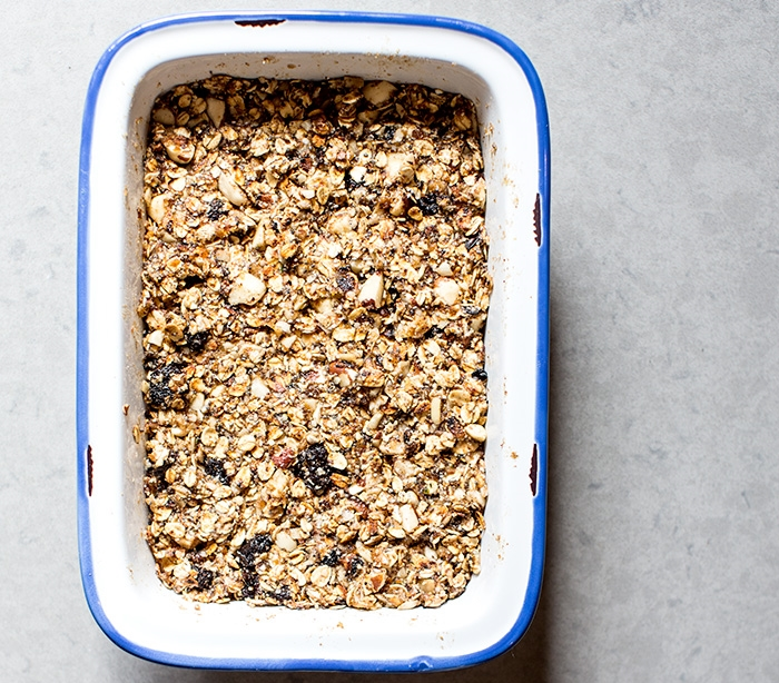 NO-BAKE GRANOLA BARS WITH DRIED CHERRIES, BRAZIL NUTS + COCONUT