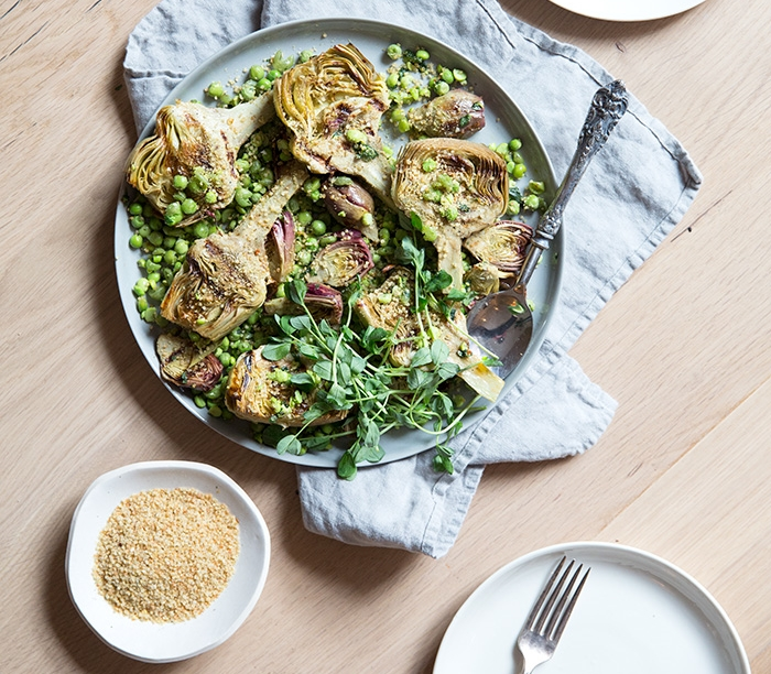 ROASTED ARTICHOKES + SMASHED PESTO-Y PEAS + QUINOA BREAD CRUMBS